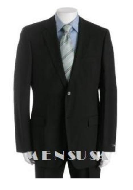 SKU# ZBT2 $799 UMO Simple & Classy Solid Black Super 150s Wool 2 Button Style Back Side Vented