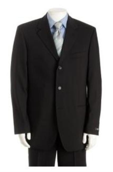 SKU#Z150C UMO Simple & Classy Solid Black Super 150s Wool & Cashmere Blend Back Side Vented