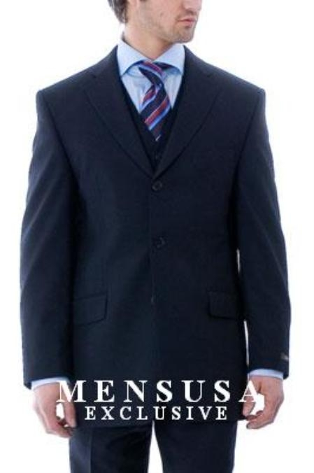 SKU# HFD973 Simple & Classy Stunning Navy Blue 3 Pieces Vested Mens Suits in Super 150s Wool $159