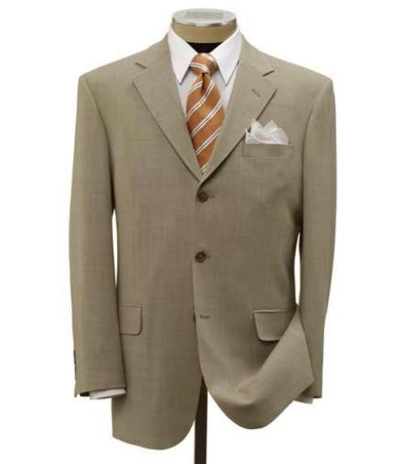 SKU# QIW389 Simple Tan ~ Beige 3 Buttons Mens Dress Ultra Smooth Stretch Fabric is Wrinkle and Stain-Resistant Rayon Suit  $109