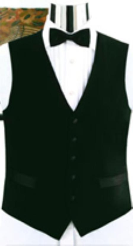 SKU#V752GA Simple Black Not Shiny Tuxedo Vest $49