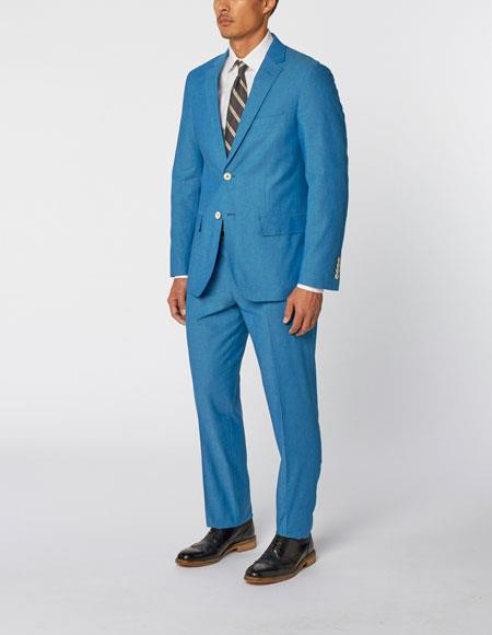 Enzo Tovare Authentic Brand Men's Single Breasted Notch Lapel Bold Cotton Double Vent Two Piece Aqua Blue ~ Turquoise Color Suit