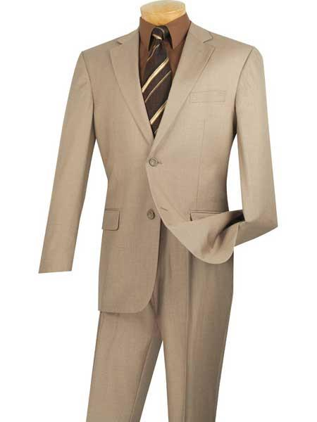 Mens Big And Tall Single Breasted Beige 2 Piece Notch Lapel Extra Long Suit