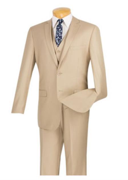 Mens Beige 3 Piece 100% Wool Executive Suit - Narrow Leg Pants
