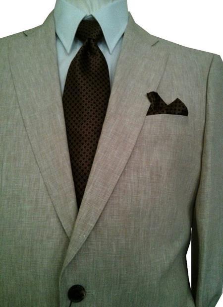 Mens 2 Button Solid Beige Notch Lapel 100% Linen Single Breasted Suit