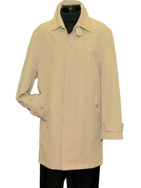 Mens Dress Coat Single Breasted Hidden Button Beige Long Mens Dress Topcoat -  Winter coat