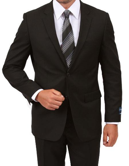 ZeGarie Mens Single Breasted Modern Fit Black Suit with Flat Front Pant