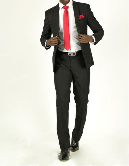 Buy EFTR-612 Mens Black Pick Stitched 2 Button Slim Fit Skinny Suit