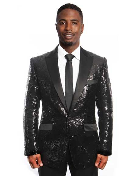 Mens Black/Black Lapel Sequin Tuxedo / Dinner Jacket Peak Lapel Blazer Sport coat