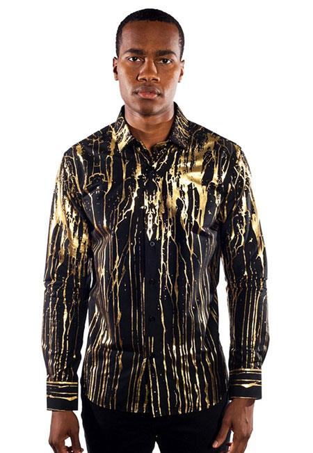 Gold Mens Dress Shirt