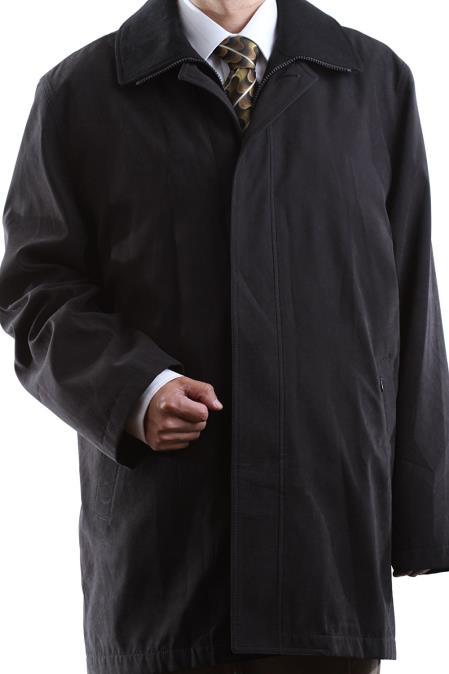 Cianni Mens Single Breasted Collared Black 3/4 Length Waterproof Raincoat