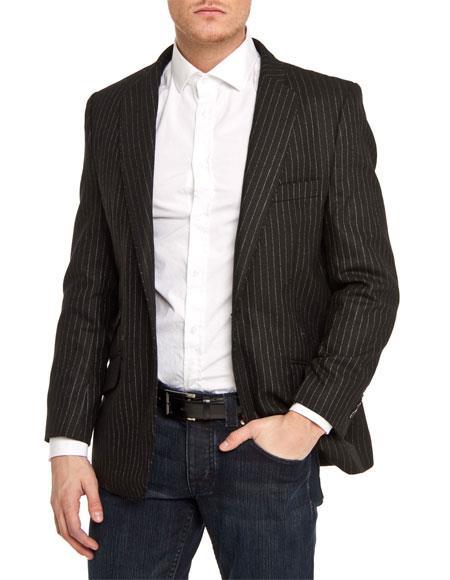 Mens Single Breasted Black Slim Fit Pinstripe 1 Button Blazer