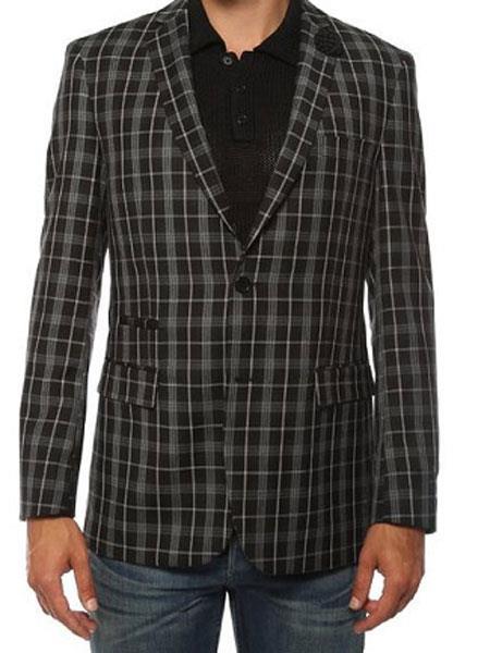 Ferrecci Mens Plaid Slim Fit Black Blazer Dinner Jacket