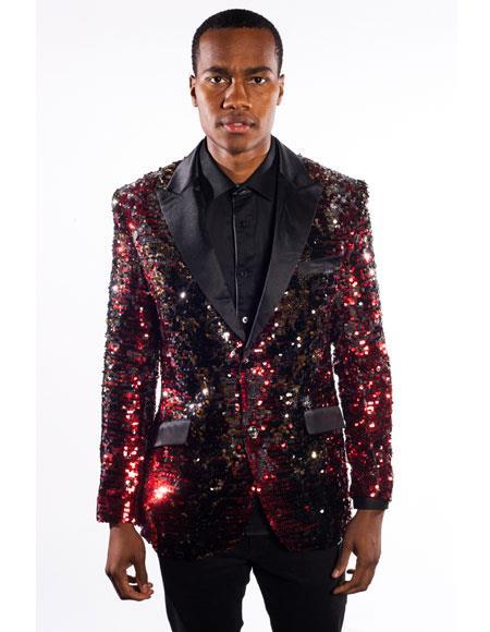 Men's Black/Red Duo Tone Cheap Priced Designer Fashion Dress Casual Blazer For Men On Sale Regular Fit Sequins Design 2 Buttons Tuxedo Dinner Jacket Cheap Priced Blazer Jacket For Men