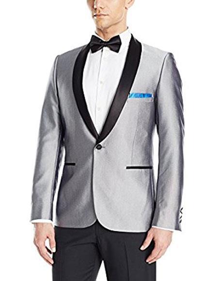 Mens Buttons Closure Shawl Lapel Shiny Silver Blazer