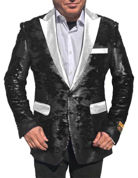 Fashion Alberto Nardoni Black Shiny Sequin Tuxedo White Lapel paisley look sport jacket ~ coat