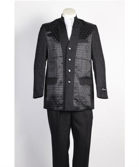 Men's 4 Button   Suit Black