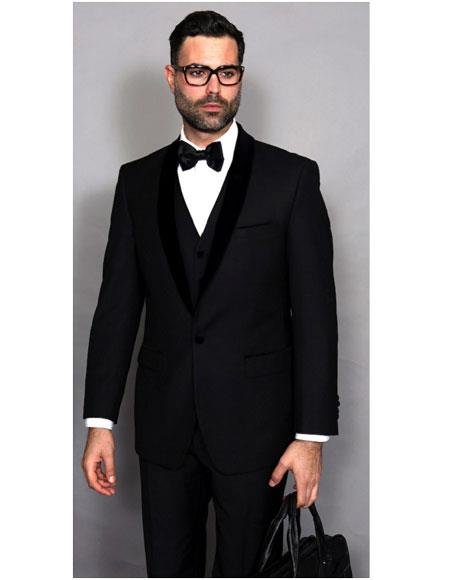 Mens Statement Suits Clothing Confidence Tuxedo Black Single Breasted Modern Fit Shawl Lapel 1 Button Suit