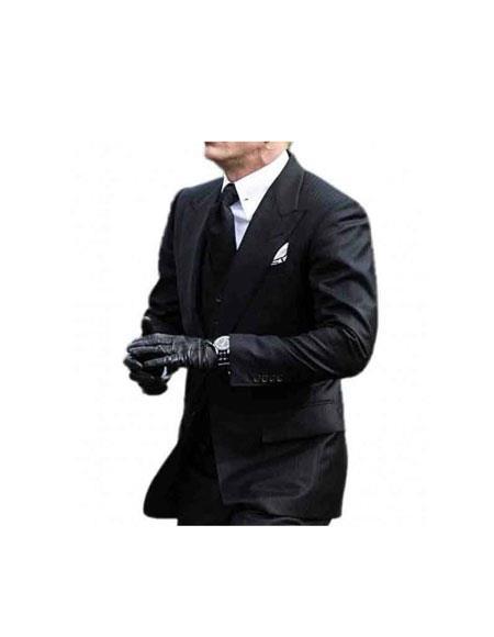 Men's  2 Button Peak Lapel Black James Bond Outfit
