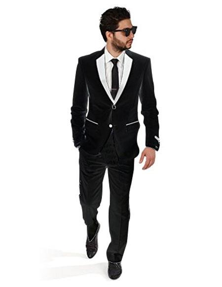 2BW2 Black With White Lapel Tuxedo Vested 3 Pieces Vested Suit Side Vented Suit Side Vented