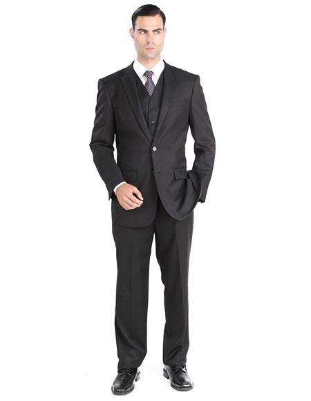Giorgio Fiorelli Mens Single Breasted 2 Button 3 Piece Modern Fit Black Suit