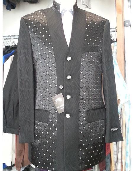 Men's 2 Piece  Black 4 Button Mandarian Collar Suits