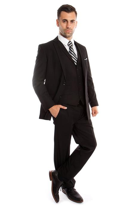 Men's Slim Fit Black Three Piece Tuxedo Jacket, Pant And 5 Button Vest With Collar