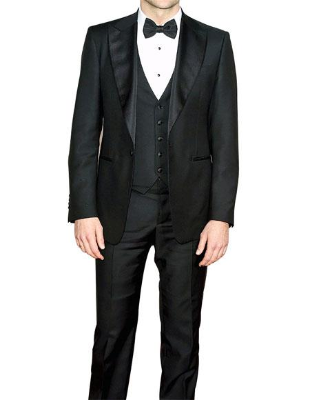 Mens  Slim Fit Black 3 Piece Fully Lined Tuxedo Suit