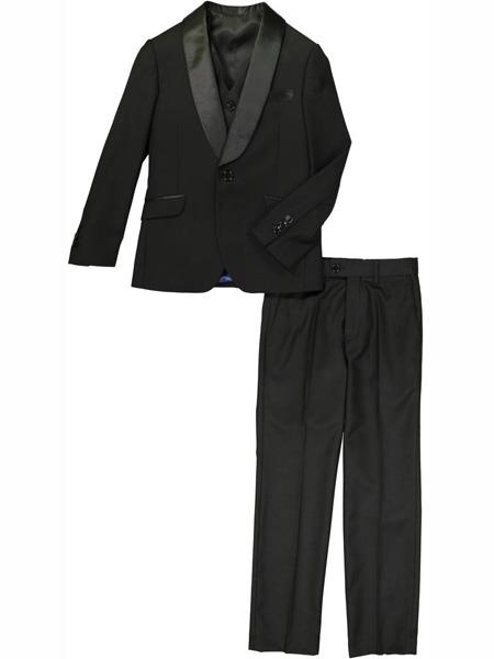 3 Pc Satin Collar Shawl Lapel Kids Sizes Black Tuxedo Suit Perfect for toddler Suit wedding  attire outfits