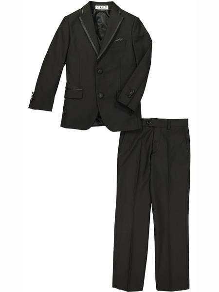 3 Piece Notch Lapel Kids Sizes Black Tuxedo Suit Perfect For boys wedding outfits Perfect for toddler Suit wedding  attire outfits