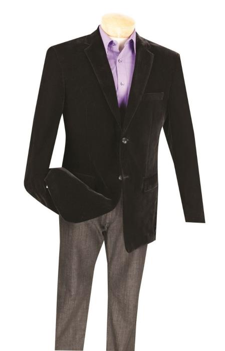 Black Big And Tall Blazers Clearance Cheap Priced Velvet ~ Velour Blazer / Sport Coat