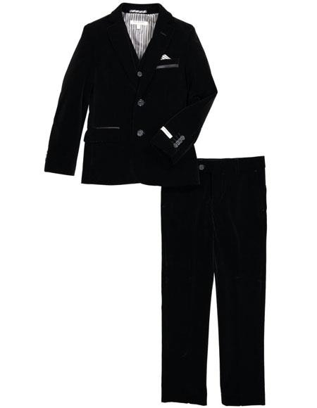 Men's Black Velvet Fabric Suit Jacket & Pants (no vest included)