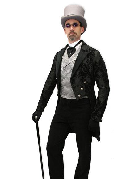 Men's Black velvet trimmed regency tapestry modern fit Tailcoat