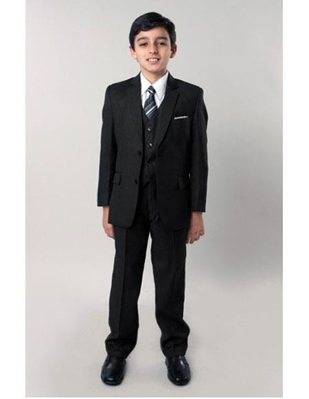 Boys 5 Piece Single Breasted Black Kids Sizes Suit Perfect for toddler wedding  attire outfits with Tone on Tone Pinstripe Side Vents