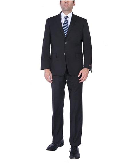 Men's Black Classic Fit Two-Piece Side Vents 2 Button Cheap Priced Business Suits Clearance Sale