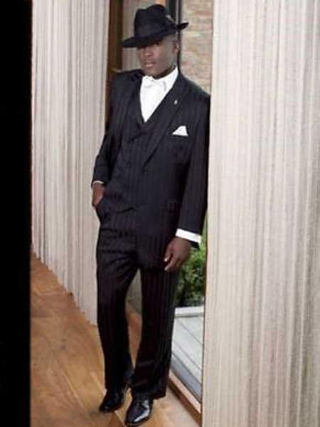 Men's 3 Piece Peak Lapel Tone on Tone Shadow Stripe Tonal Stripes Black On Black Vested Suit
