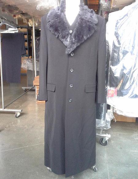 Mens Dress Coat Black Vested Maxi Coat Microfiber Fur Collar With Vest & Pants