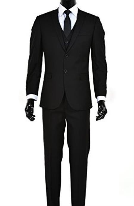 Mens 2 Button Single Breasted Black Notch Lapel Slim Fit Vested Suit