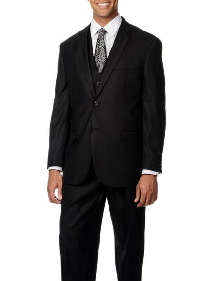 Caravelli Mens Notch Lapel Single Breasted Black Shark Pattern 3-piece Vested Suit