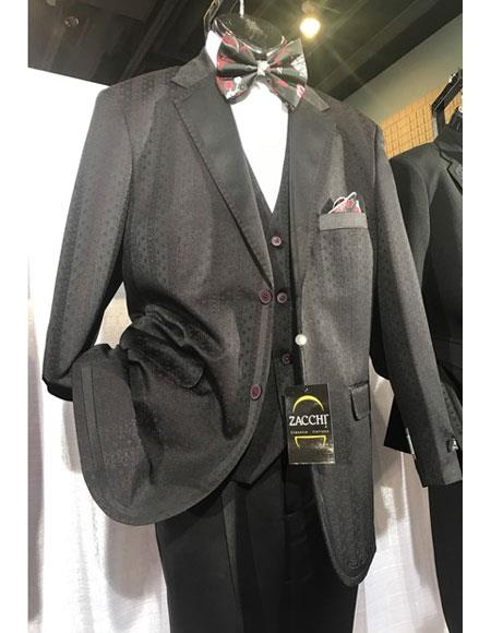 Mens Black Single Breasted Fashionable Vested Suits