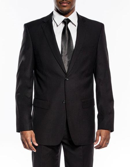 Men's black slim fit wedding prom suit with pick stitching