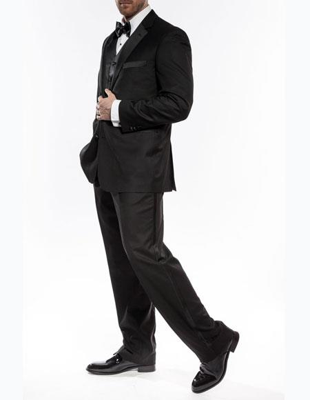 Mens classic black two button wedding prom tuxedo