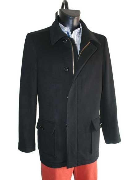 Mens Dress Coat Cashmere Wool Single Breasted With Zipper Closure Winter Black Over Coat