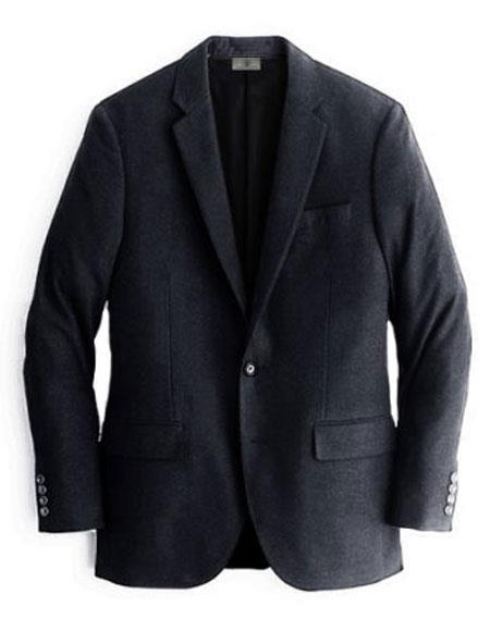 Two Buttons Cashmere & Wool Black Blazer For Men's