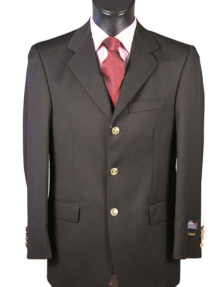 Black Blazer Wool Classic Fit 3 Button for Men