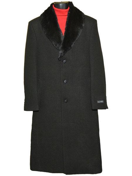 Men's Dress Coat Fur Collar Black 3 Button Wool Full Length Overcoat