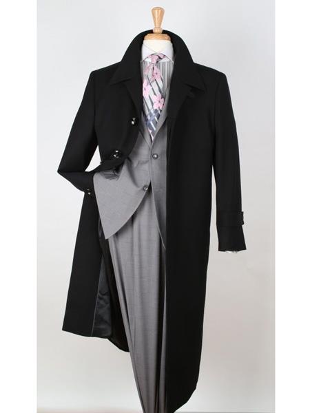 Mens Dress Coat Single Breasted 100% Wool Gabardine Black Top Overcoat