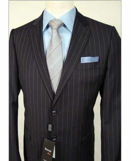 Mens Italian Stripe 2 Piece Single Breasted Notch Lapel Black Wool Suit
