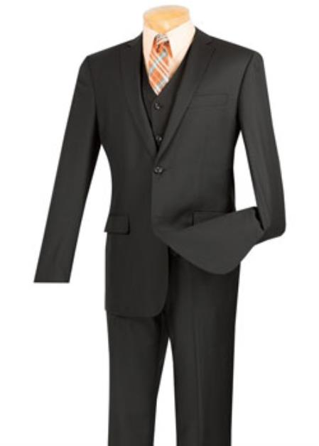 Mens Black 3 Piece 100% Wool Executive Suit - Narrow Leg Pants