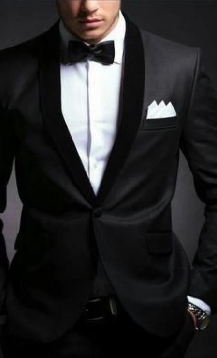 Mens Velvet Lapel Suit Single Breasted Wool Suit